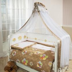 Постельное бельё в кроватку Тиффани. Цветы. Комплект  из 7 предметов