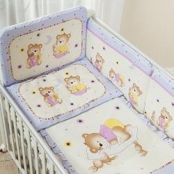 Постельное бельё в кроватку Perina Ника. Мишка На Подушке лиловый. Комплект из 3 предметов