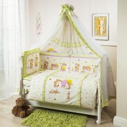Постельное бельё в кроватку Perina Ника. Мишка На Подушке салатовый. Комплект из 6 предметов.