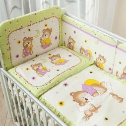 Постельное бельё в кроватку Perina Ника. Мишка На Подушке салатовый. Комплект из 7 предметов