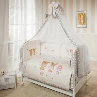 Постельное бельё в кроватку  Венеция. Лапушки бежевые. Комплект из 7 предметов