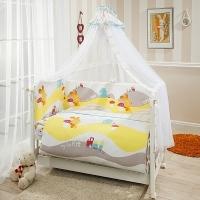 Комплект постельного белья в кроватку КРОХА - ВЕСЁЛЫЙ КРОЛИК из 7 элементов