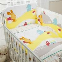 Комплект постельного белья в кроватку КРОХА - ВЕСЁЛЫЙ КРОЛИК из 4 или 6 элементов