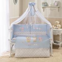Постельное бельё в кроватку Венеция. Лапушки голубые. Комплект из 7 предметов