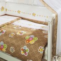Постельное бельё в кроватку Тиффани. Цветы. Комплект из 3 предметов