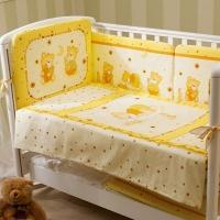 Комплект постельного белья в кроватку НИКА_МИШКА НА ПОДУШКЕ (бежевый) 4 или 6 элементов